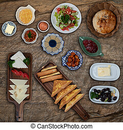 Turkish breakfast on rustic wooden table