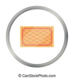 Turkish carpet icon in cartoon style isolated on white background. Turkey symbol stock vector illustration.