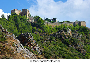 Turkish castle on the mountain in Alanya