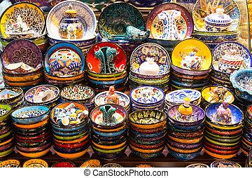 Turkish Ceramic Plates in Spice Bazaar, Istanbul City, ...
