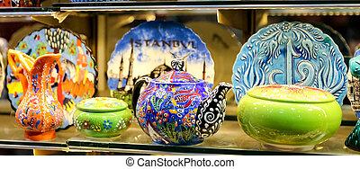 Turkish Ceramics in Grand Bazaar, Istanbul, Turkey - Turkish...