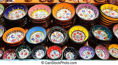Turkish Ceramics in Spice Bazaar, Istanbul City, Turkey