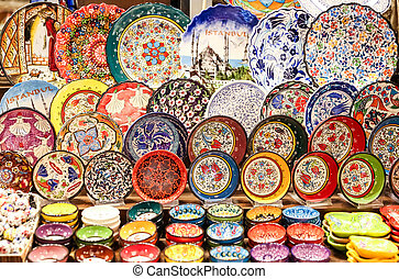 Turkish Ceramics in Spice Bazaar, Istanbul, Turkey