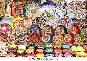 Turkish Ceramics in Spice Bazaar, Istanbul, Turkey
