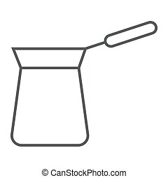 Turkish cezve thin line icon, coffee and cafe, turkish coffee sign vector graphics, a linear pattern on a white background, eps 10.