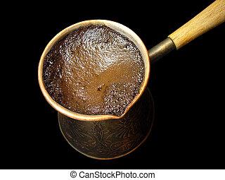 Turkish coffee 2 - Turkish coffee isolated on the black...
