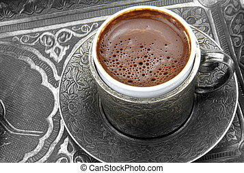 Turkish coffee and metal cup