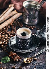 Turkish coffee in metal cup