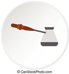 Turkish coffee pot icon circle
