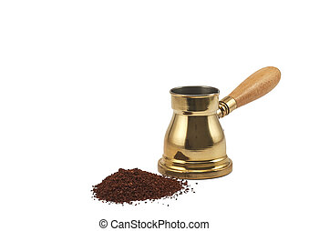 Turkish coffee pot jezve with coffee