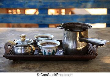 Turkish Coffee Setting in Lebanon - A traditional Lebanese...