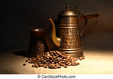 Turkish Coffee - Vintage still life with heap of coffee...