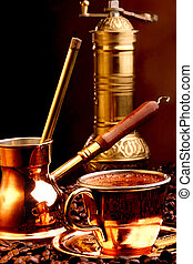 Turkish coffee - Traditional serving of turkish coffee