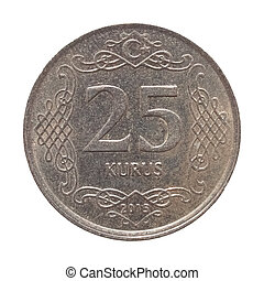 Turkish coin isolated