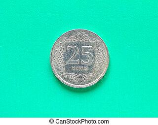 Money - 25 Kurus coin of Turkey