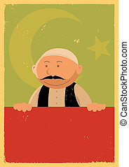 Turkish Cook Banner - Illustration of a cartoon turkish chef...