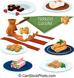 Turkish cuisine desserts menu cartoon icon - Turkish and...