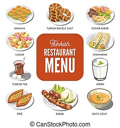 Turkish cuisine food traditional dishes vector icons for Turkley restaurant menu