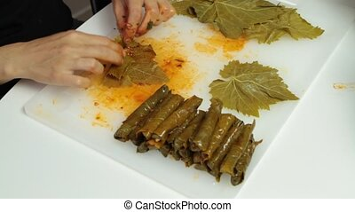 Turkish cuisine. Homemade Sarma - Rice wrapped in grape...