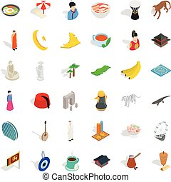 Turkish culture icons set, isometric style