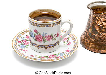 Turkish cup of coffee with pot