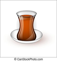 Turkish cup with tea on a saucer