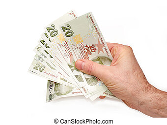 A hand holding Turkish 20 Lira notes, on a white background.