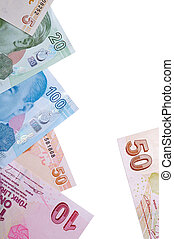 A mixture of Turkish Lira Currency, on a white background.