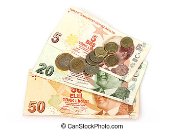 Turkish currency, bills and coins over white