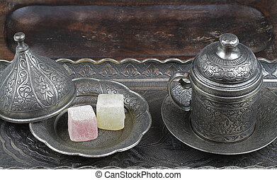 Turkish delight and coffee cup