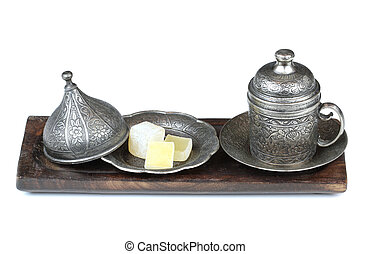 Turkish delight and coffee traditional ottomans carved patterned metal cup