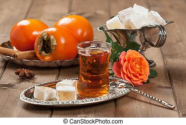 Turkish Delight. Hot Tea. Persimmon. Rose. Silver Dish. - ...