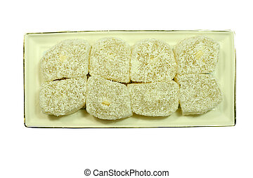 lokum - turkish delight lokum in plate over white