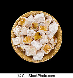 Turkish Delight Nuts Rahat Locum isolated on black ...