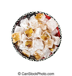 Turkish Delight Nuts Rahat Locum on white background. ...