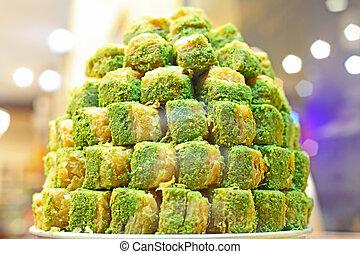 turkish delight sweets taken in Istanbul, Turkey