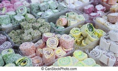 Turkish delight, Turkish delight, assorted Oriental sweets. sale on the market