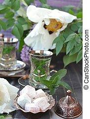 Turkish delight with mint tea