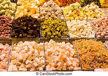 Turkish Delights in Spice Bazaar, Istanbul City