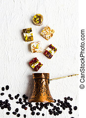 Turkish delights with coffee beans