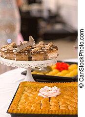 Turkish Dessert Baklava with walnuts on a table