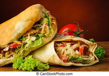 Turkish doner kebab and shawarma - still life with turkish...