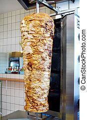 turkish doner kebab meat pit in a fast food shop