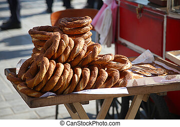 turkish famous street food simit with natural light