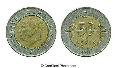 turkish fifty kurus coins isolated on white