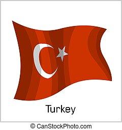 Turkish flag, flag of Turkey vector illustration