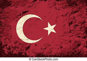 Turkish flag Grunge background.