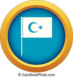 Turkish flag icon blue vector isolated on white background...