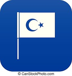 Turkish flag icon digital blue for any design isolated on...