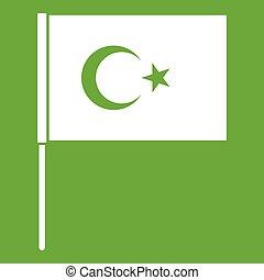 Turkish flag icon green - Turkish flag icon white isolated...